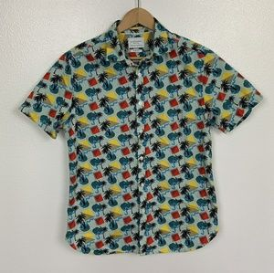 Cactus Man Shirt Slim Fit Hawaian Multicolor Sz: M